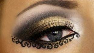 Восточный макияж для голубых глаз, необычный арабский макияж с узором
