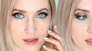 Макияж для блондинок с серо-голубыми глазами, бирюзовый макияж глаз