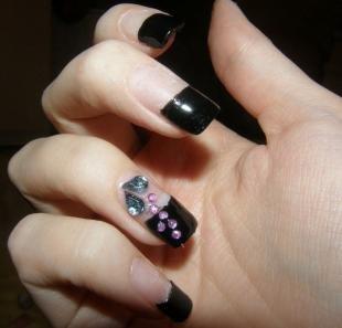 Черный френч, черный френч на длинные ногти