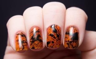 Коралловые ногти с рисунком, оранжевый дизайн ногтей на хэллоуин