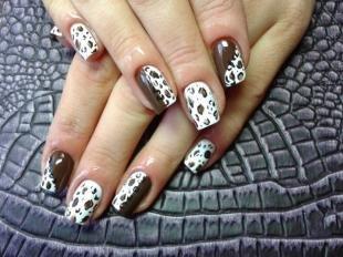 Леопардовые рисунки на ногтях, кофейный маникюр с леопардовым принтом