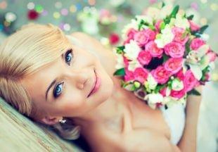 Свадебный макияж для круглого лица, великолепный свадебный макияж для голубых глаз