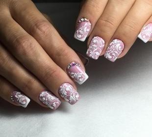 Бело-розовый маникюр, роскошный свадебный дизайн ногтей