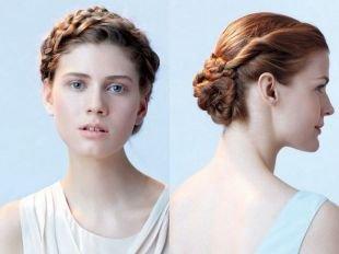 Свадебные прически на бок на средние волосы, прическа на 1 сентября - пучок из жгутов с косой вокруг головы
