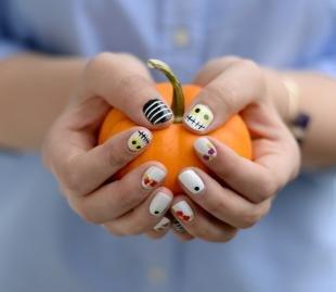 Рисунки смайлики на ногтях, модный маникюр для хэллоуина