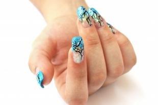 Голубой френч, дизайн квадратных нарощенных ногтей