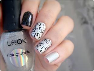 Рисунки с бабочками на ногтях, черно-белый маникюр с наклейками