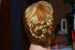 Прически с косами на выпускной на длинные волосы, великолепная корзинка из хвоста
