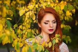 Свадебный макияж в персиковых тонах, осенний макияж для рыжих