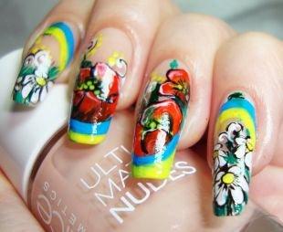 Нарощенные ногти, разноцветный маникюр с цветочными мотивами