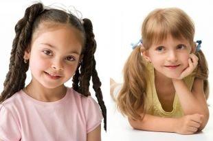Прически с челкой на длинные волосы, детская прическа на выпускной - вьющиеся боковые хвостики