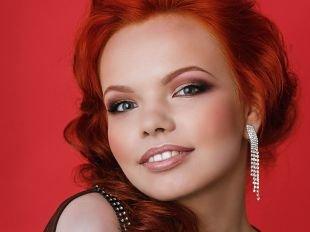 Азиатский макияж, коричневый макияж для рыжих волос и серых глаз