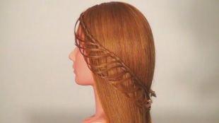 Прически на выпускной 11 класс на длинные волосы, оригинальная прическа с плетением - ажурная коса