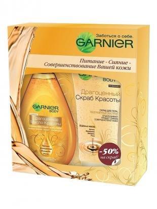 """Скраб Garnier, garnier подарочный набор масло-спрей для тела """"ultimate beauty. драгоценное масло красоты"""""""