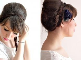 Свадебные прически с челкой, прическа бабетта с косой