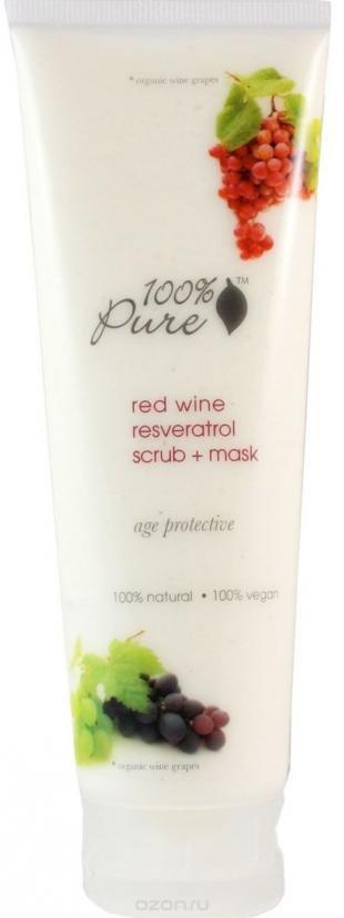 Маска-скраб, 100% pure коллекция ресвератрол красного вина: скраб+маска для лица 118 мл
