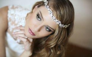Свадебный макияж для маленьких глаз, нежный свадебный макияж для зеленоглазых невест с русыми волосами