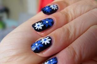 Рисунки ромашек на ногтях, черный дизайн ногтей с ромашками