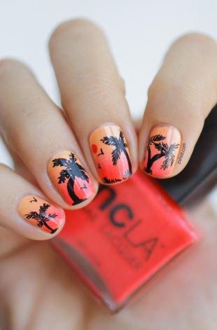 """Интересные рисунки на ногтях, маникюр """"гавайский закат"""""""