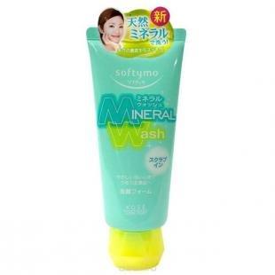 """Скраб для проблемной кожи лица, кose пенка-скраб для умывания с цветочным ароматом, """"softymo """"mineral wash"""" 130 г"""