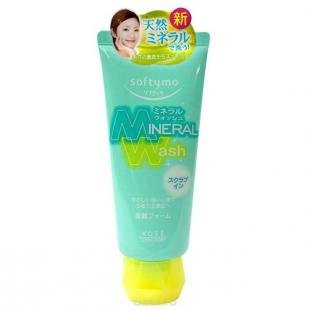 "Эффективный скраб для лица, кose пенка-скраб для умывания с цветочным ароматом, ""softymo ""mineral wash"" 130 г"