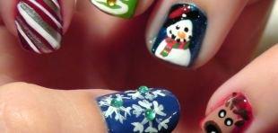 Простейшие рисунки на ногтях, зимний маникюр на короткие ногти