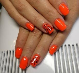 Рисунки на ногтях кисточкой, оранжевый дизайн ногтей с черным рисунком