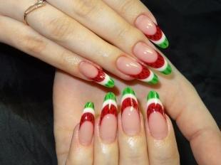 """Зеленый френч, френч на длинные ногти """"арбузные дольки"""""""