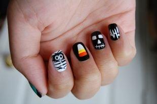Рисунки на маленьких ногтях, маникюр на хэллоуин