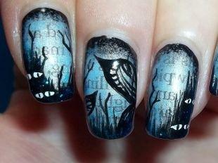 Рисунки на черных ногтях, бордовый маникюр со снежинками