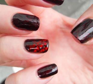 Рисунки паука на ногтях, темный маникюр на длинные ногти