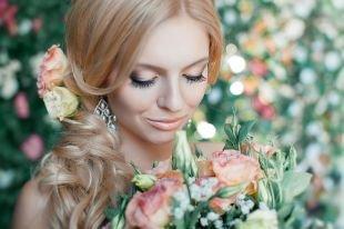 Макияж для карих глаз, свадебный макияж в пастельных тонах