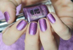 Осенний дизайн ногтей, мерцающий фиолетовый маникюр на короткие ногти