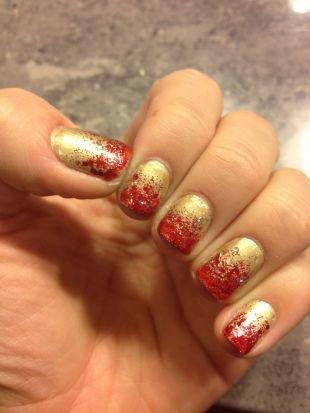 Дизайн ногтей с блестками, красно-золотистый градиентный маникюр
