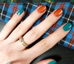 Осенний дизайн ногтей, двухцветный маникюр по фен-шуй