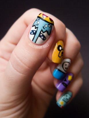 Молодёжные рисунки на ногтях, мультяшный маникюр