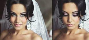 Свадебный макияж для брюнеток, ослепительный свадебный макияж для голубых глаз