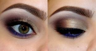 Яркий макияж для зеленых глаз, макияж на праздник под синее платье
