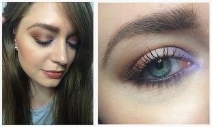 Макияж на день рождения, макияж голубых глаз с сиреневыми и коричневыми тенями