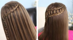 Праздничные детские прически на длинные волосы, прическа с одной и двумя косами на выпускной