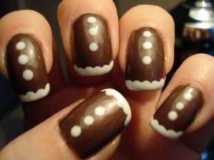 Рисунки на маленьких ногтях, новогодний маникюр со снегом и снежками